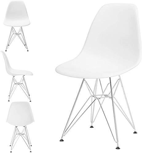GroBKau Set di 4 Sedie da Pranzo con Base in Metallo, in Plastica Modellata, con Gambe in Acciaio (White)