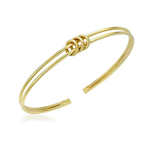 Carissima Gold Women's 9ct Yellow Gold Triple-Ring Flexible Cuff Bangle