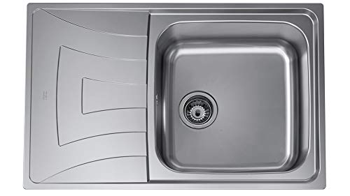 Teka 115120003 - Fregadero de cocina de acero inoxidable con un solo cuenco UNIVERSO MAX 1C 1E MTX-115120003, color gris