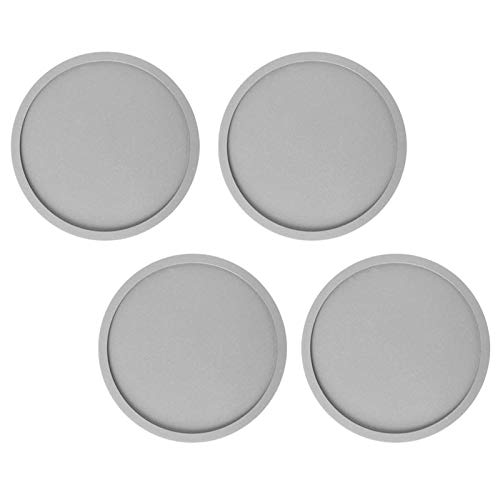YuuHeeER Drink Coasters Silicone Round Non Slip Heat Insulation Pad For Grey 4 Pcs