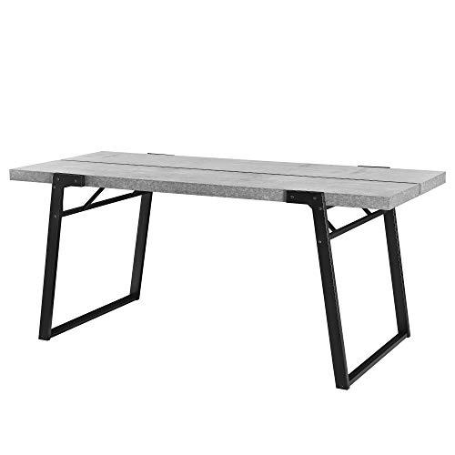 [en.casa]® Mesa de Comedor para 6 Personas 180 x 80 x 77cm Diseno Acero MDF Efecto hormigon