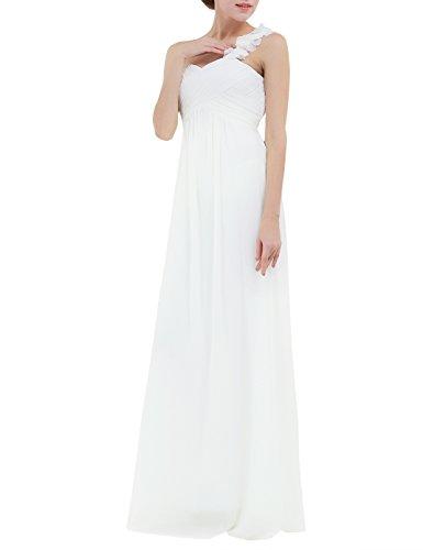 YiZYiF Chiffon Applique One Shoulder Long Bridesmaids Party Dress Ivory 16