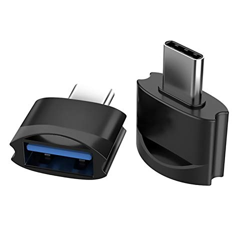 Tek Styz USB C Female to USB Male Adapter (2pack) Works for LG Q8 for OTG with Type-C Charger. Use with Expansion Devices Like Keyboard, Mouse, Zip, Gamepad, sync, More (Black)
