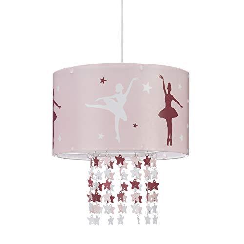 Relaxdays Hängelampe für Mädchen, Kinderlampe m. Ballerina Motiv, Pendelleuchte m. Stern-Mobile f. Kinderzimmer, rosa