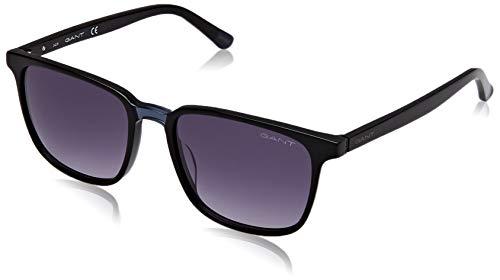 Gant Unisex GA7111 zonnebril voor volwassenen, zwart (Shiny Black/Gradient Smoke), 54
