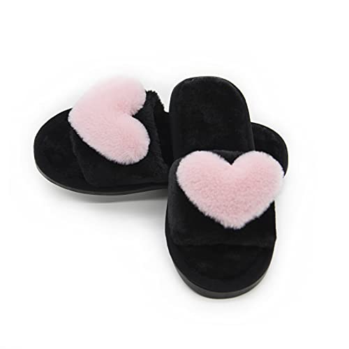 Women's Fuzzy Fluffy Furry Fur Slippers Flip Flop Open Toe Cozy House Memory Foam Sandals Slides Soft Flat Comfy Anti-Slip Spa Indoor Outdoor Slip on (01/Pink, 9-10 M US)