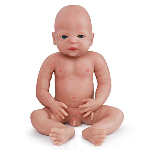 Vollence 55 cm Realistische Reborn Baby Puppe, PVC-Frei, Festes Ganzkörper Flüssigsilikon Lebensechte Baby-Puppe, Naturgetreue Handgemachte Silikon Babypuppe mit Kleidung - Junge