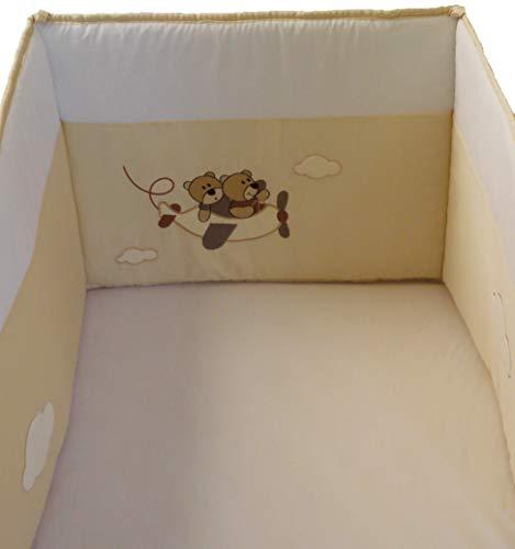 Doulogis DemiTour de Lit de bébé Modulable en Coton Organique et Percale de Coton Bio.Certifié OEKOTEX. Protection lit enfant en 40x180cm. Pour lit 60x120 cm.Douceur et confort.Motif brodé Tendresse