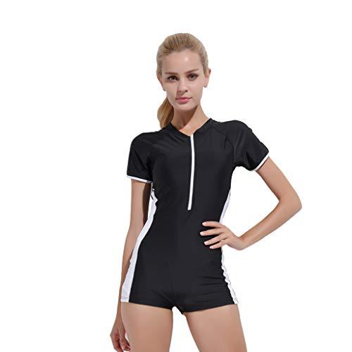 iYmitz Damen Einteiliger Surfanzug Sommer UV Schutz Badeanzug Badebekleidung Wassersport Anzug Wetsuit für Frauen(Schwarz,3XL)