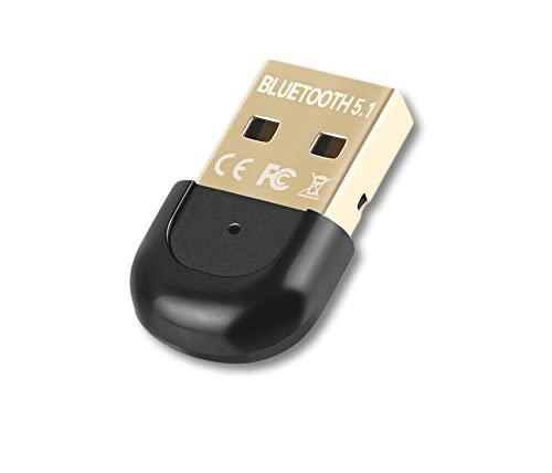 iAmotus Adaptador Bluetooth 5.1 para PC Portátil, Bluetooth EDR USB Dongle Transmisor y Receptor Compatible con Win 10/8.1/8/7, para Auriculares/ Altavoces/ Teclados/ Ratónes/ Smartphone/ Impr