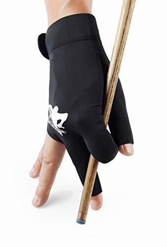 Roaming Billard-Handschuh Carom Pool Handschuh Snooker Queue Sport Handschuh Fit auf linke oder rechte Hand für Männer Frauen (L/XL (Handflächenbreite 8,5–9,5 cm), schwarz rechte Hand)