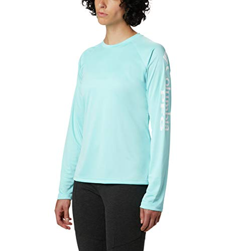 Columbia Women's PFG Tidal Tee II Long Sleeve Shirt , Clear Blue/White Logo, Medium