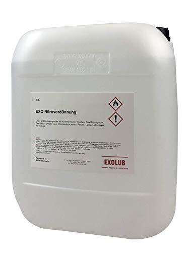 EXOLUB Nitroverdünnung (30 Liter) | Verdünner für Kunstharzlacke etc. | Reiniger für Pinsel, Werkzeuge etc.