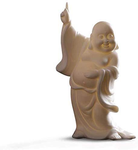 DFJU Chinese Chinese Ornaments Decoração Cerâmica Branca Estátuas de Buda Rindo, para escritório e casa, atraem Riqueza e Boa sorte. Presentes de felicitações, artesanato.