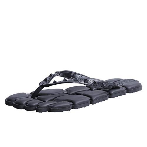 HDUFGJ Herren Zehentrenner Flip Flops Sandals Badeschuhe Beach Plush Erwachsene Pantoffeln Sandalen Clogs & Pantoletten Flache Hausschuhe42 EU(Schwarz)