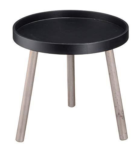 Mesa auxiliar decorativa (40 x 37 cm, mesa de madera redonda con 3 patas), madera, Negro , 40x37 cm