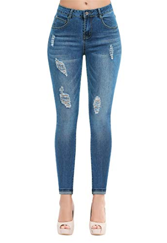 Women's Casual Ripped Holes Skinny Jeans Jeggings Straight Fit Denim Pants (US 12, Blue 19)