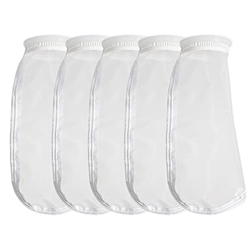 HRTFILTERS Paquete de 5 calcetines de nailon con filtro de 4 pulgadas de anillo de 300 micras por 14 pulgadas de largo - Bolsas de filtro de malla de acuario (anillo de 300 micrones de 4 pulgadas)