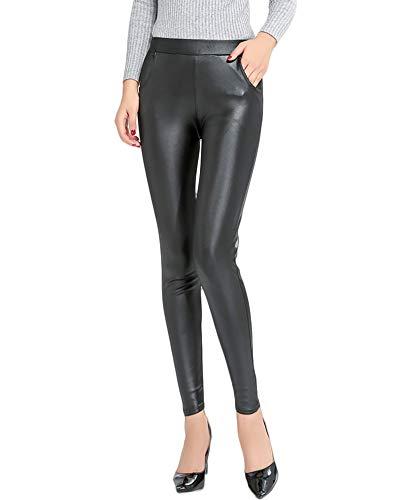 Quge Mujer Leggins De Cuero Pantalones De Cuero Elásticos Leggins Piel con Bolsillo Negro XL