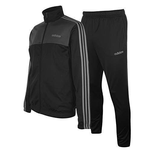 Adidas Herren-Trainingsanzug mit 3 Streifen Gr. XL, schwarz / grau / weiß