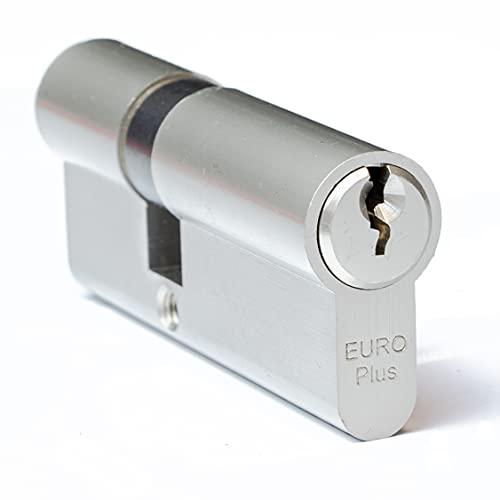 FELGNER Doppel-Zylinder Euro Plus Schließzylinder Profilzylinder Türschloss Sicherheitsschloss für Türen Haustür Wohnungstür - inkl. 3 Bart-Schlüssel | 30-50 mm (50-30 mm)