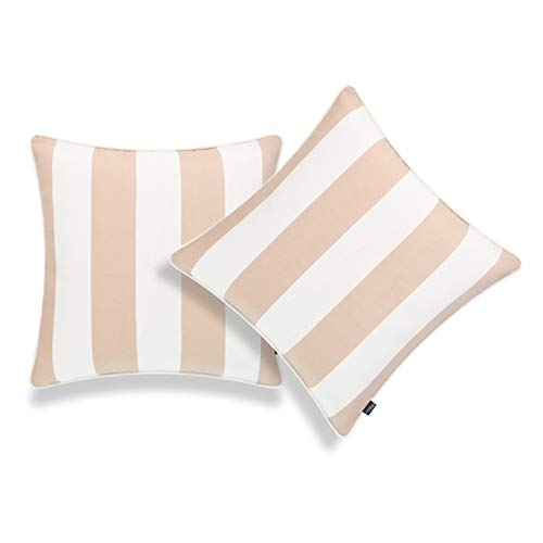 Hofdeco Patio Indoor Outdoor Throw Pillow Cover ONLY for Backyard Couch Sofa Tan Sand Stripes 18quotx18quot Set of 2