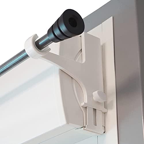 Store & Joinery 2.0 Juego de 2 soportes - sin taladrar sin adhesivos - para barras de cortina ø20-28mm - fijación por tensión en cajas de persianas enrollables Altura 14-24 cm blanco -Calidad francesa