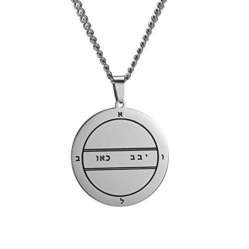 TUDUDU Talismán Pentáculo De Mercurio Colgante Collar Joyería De Acero Inoxidable Collares De Amuleto Vintage Longitud 45 + 5 Cm