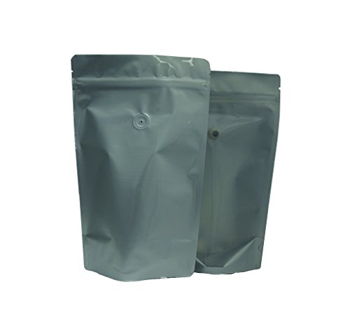 New 16 oz. Clear Poly/Silver Foil Stand Up Zip Pouch w/ Valve (Coffee Packaging, Tea Packaging, Jerk...