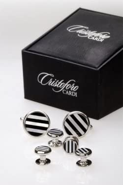 Cufflinks and Studs - Mother of Pearl and Onyx Circular with Stripes.