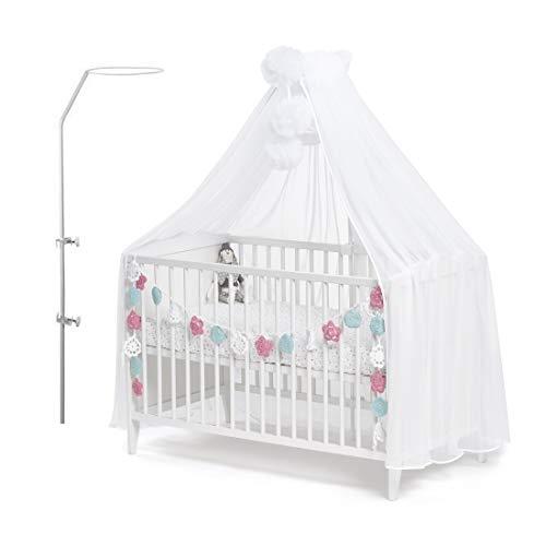 Callyna ® - Ciel de lit bébé XXL avec support, voile qualité LUX Blanc grande taille. Moustiquaire décorative pour lit bébé. Finition Blanc