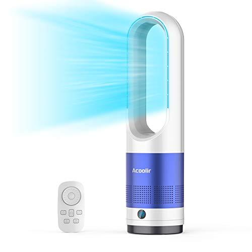 Ventilador de Torre sin Aspas, Ventilador Silencioso con Control Remoto, Oscilación de 80°, 8 Velocidades, 8 Horas de Temporizador, Pantalla LED, Ventilador de Sobremesa para Hogar y Oficina