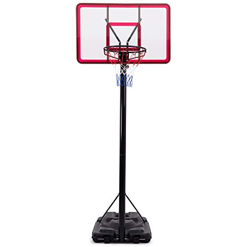 GYMAX Basketball Hoop, Portable Basketball Hoop System, with 44 Inch Backboard Adjustable Height Wheels, for Kids Youth Adult Playing Training