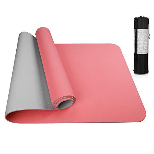 Vivibel Yogamatte, Gymnastikmatte rutschfeste aus TPE, Hypoallergen Sportmatte mit Tragegurt, Fitnessmatte für Yoga, Pilatesmatte, Fitness Übungen und Gymnastik,Trainingsmatte(183 x 61 x 0.6 cm)