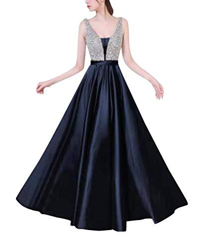 Minetom Abiballkleider Ballkleid Abendkleid Lang Neckholder Chiffon Strass Abschlusskleid Blau DE 38