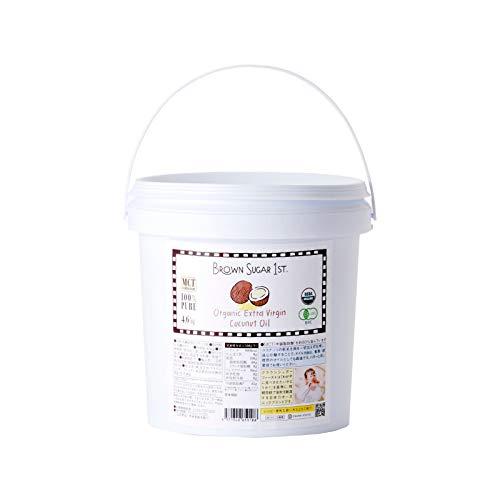 ブラウンシュガーファースト <天然MCTオイル 61%含有>有機JASエクストラバージンココナッツオイル 業務用5l オーガニック 無化学調味料 無添加 砂糖不使用 非加熱 中鎖脂肪酸 低温圧搾 ブラウンシュガーファースト そのまま口に含むと自然なココナッ