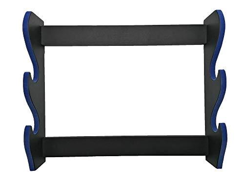 Shop SoftAir® Soporte expositor para Katana de 2 plazas de pared de madera con soporte para katane terciopelo azul y historia de los Samurai