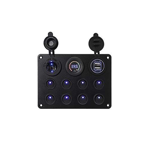 Nuevo MEI 1 pieza 12 V coche barco marino 8 bandas interruptor interruptor interruptor de interruptor para coche barco, RV, camión, ATV UTV, caravana instalación es simple y el modelo es adecuado