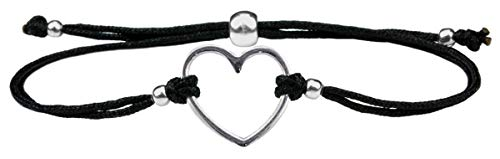 Milosa Herz Armband Silber - größenverstellbar - handmade - langlebig - fein verpacktes Geschenk für Damen & Mädchen, Armbänder Makramee:Schwarz