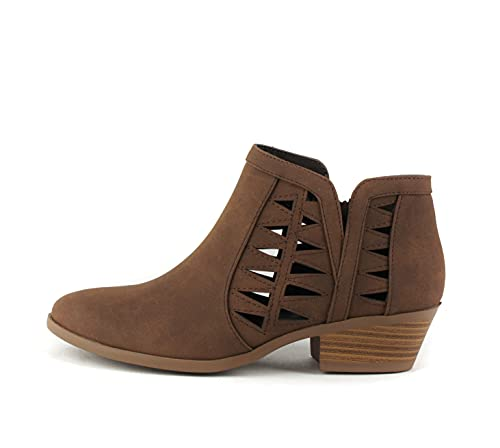 SODA CHANCE Womens Perforated Cut Out Stacked Block Heel Ankle Booties (Brown, numeric_8_point_5)