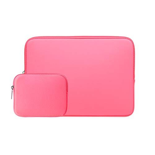RAINYEAR 15,6 Pollici Custodia Protettiva per Laptop PC Computer Portatili Sleeve Caso Borsa da Trasporto con Piccola Borsa Aggiuntiva,Compatibile con 15,6  Chromebook Notebook,Rosa Brillante