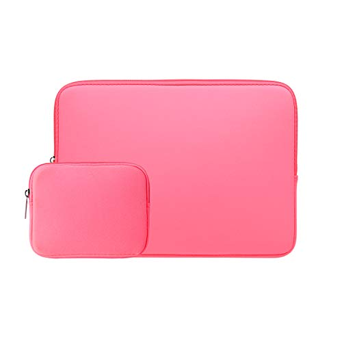 RAINYEAR - Funda protectora para portátil de 14 pulgadas con cremallera, acolchada suave y bolsillo de accesorios, compatible con portátil de 14 pulgadas, Notebook, Tablet, Chromebook (rosa brillante)