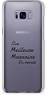 "ZOKKO Case for Samsung S8 Plus with""Best Godmother of the World"" Design - Transparent - Black Ink"