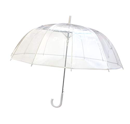 SMATI - Stick Umbrella - Clear Bubble Canopy - Big Size - 12 Fiberglass Ribs - Windproof - Auto Open - See Through (Transparent White)