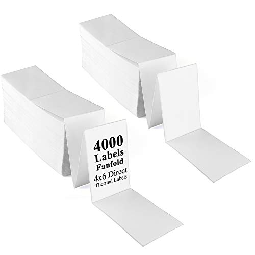 LotFancy Fanfold 4x6 Direct Thermal Labels, 4000 Labels Total, 2 Stacks, Perforated, White Mailing Shipping Labels Compatible with Zebra, Rollo Thermal Printer, Permanent Adhesive