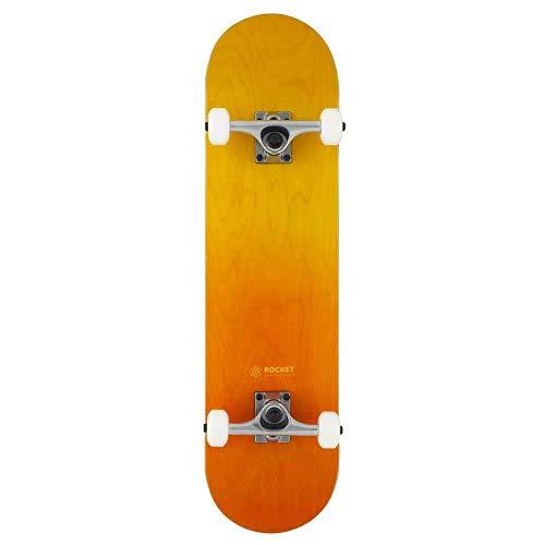 Rocket - Skateboard completo doppio tuffo arancione giallo 20,3 cm
