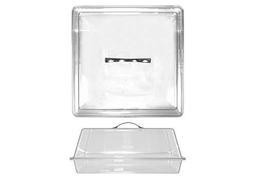 H&H - Vitrina para dulces de policarbonato transparente, cuadrada, 40 x 40 x 18 cm