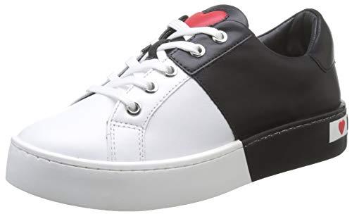 Love Moschino Scarpad.cassetta35 VIT.Bianco+Nero, Chaussures de Gymnastique Femme, Blanc (White Calf 10a), 36 EU