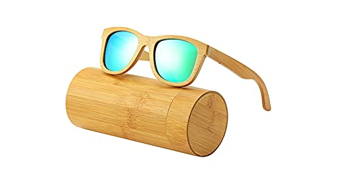 HSYSA Las Gafas de Sol al Aire Libre Son adecuadas para Conducir y Pescar.Gafas de Sol de Madera, Lentes de bambú polarizadas, Anti-Ultravioleta y antirreflejo. (Lenses Color : Grün)