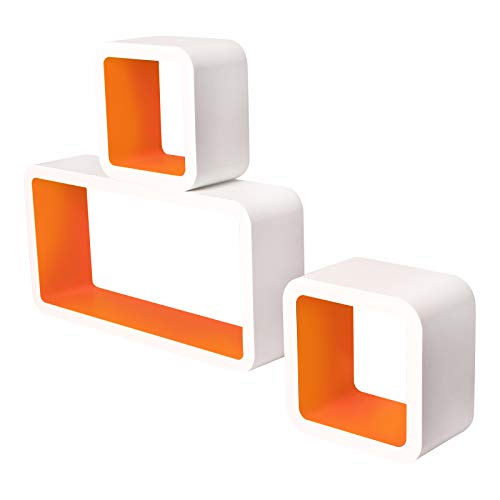 Lestarain LGA022 Juego de 3 Estanteria Cubo de Pared Cuadrada Libreria Repisas Invisibles Estanteria Pared Flotantes Blanco/Naranja Decorativo CD